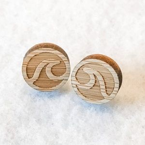 Laser Cut Wood Wave Earrings